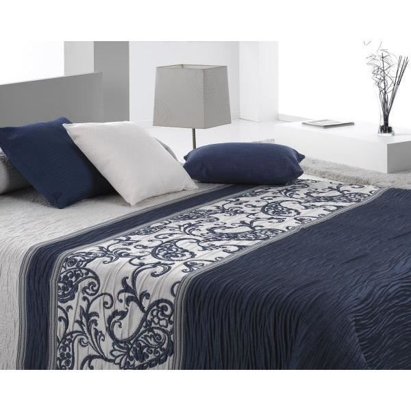 couvre lit 250x270 cm tiss jacquard carvex bleu pour lit. Black Bedroom Furniture Sets. Home Design Ideas