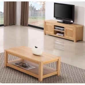 Ensemble meuble tv et table basse ch ne clair achat for Ensemble meuble tv et table de salon