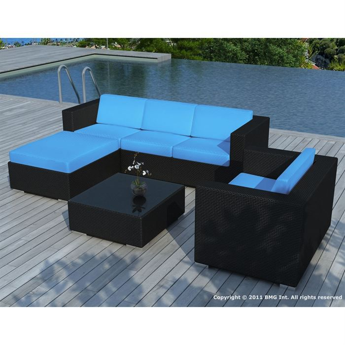 salon de jardin noire coussin turquoise sd8201 achat vente salon de jardin salon de jardin. Black Bedroom Furniture Sets. Home Design Ideas