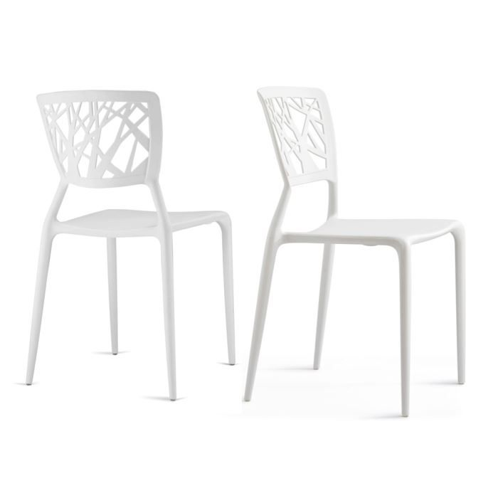 Lot De 2 Chaises Candice Int Rieur Ext Rieur Co Achat Vente Chaise Blanc Cdiscount