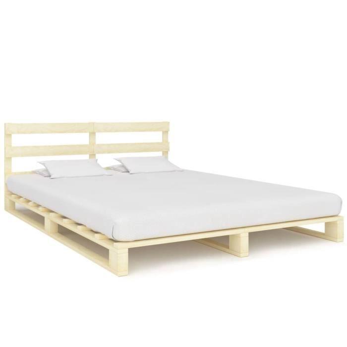 STRUCTURE DE LIT Cadre de lit de palette Bois de pin massif 160 x 2