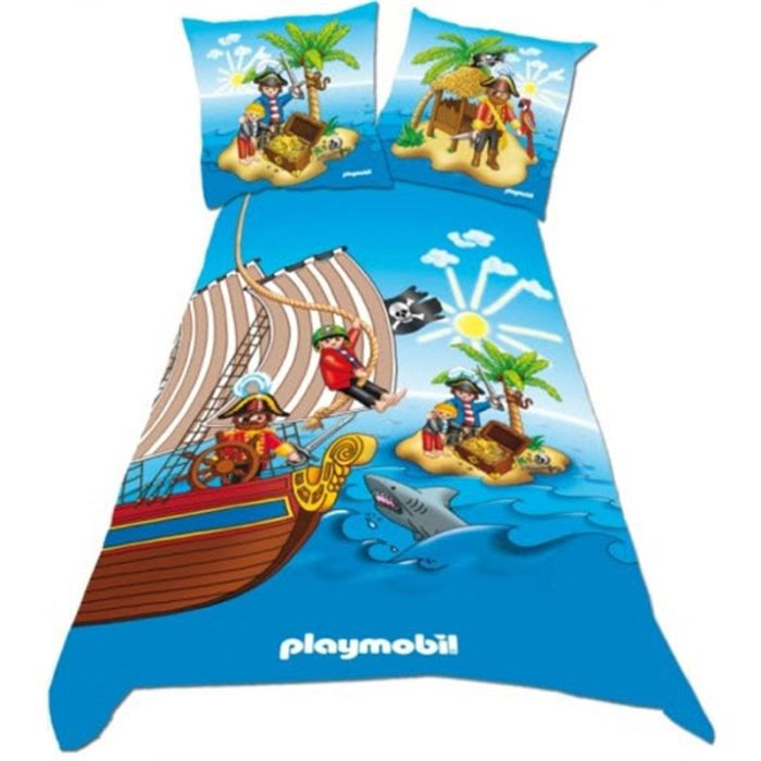 playmobil parure de lit pirates 140 x 200 cm achat vente parure de couette cdiscount. Black Bedroom Furniture Sets. Home Design Ideas