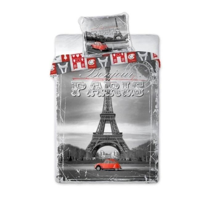 2cv rouge a paris linge de lit parure housse de couette 160x200 taie adolescent achat. Black Bedroom Furniture Sets. Home Design Ideas