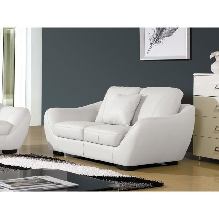 Canap 2 places luxe julietta cuir blanc design achat for Canape julietta but