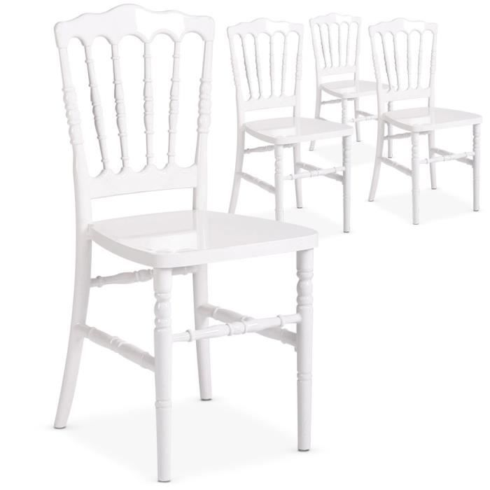 lot de 4 chaises napoleon plexi blanc achat vente chaise blanc cdiscount. Black Bedroom Furniture Sets. Home Design Ideas