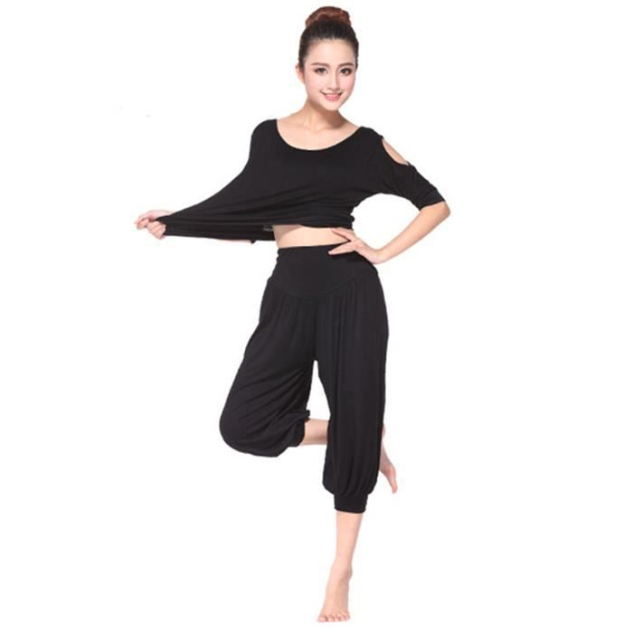 mimode ensemble v tement de yoga femme tenue de sport danse fitness t shirt pantalon noir noir. Black Bedroom Furniture Sets. Home Design Ideas