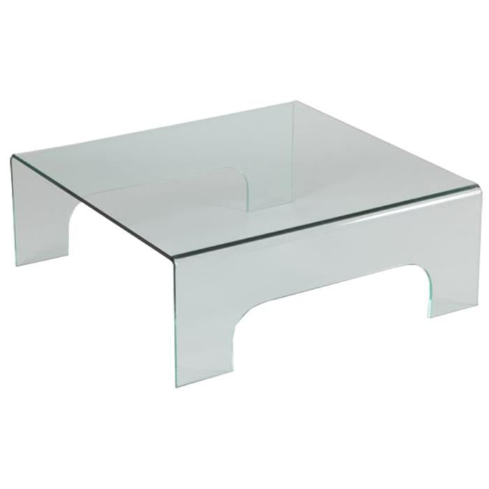 Table basse en verre carr e 4 pieds xp achat for Table 4 en 1