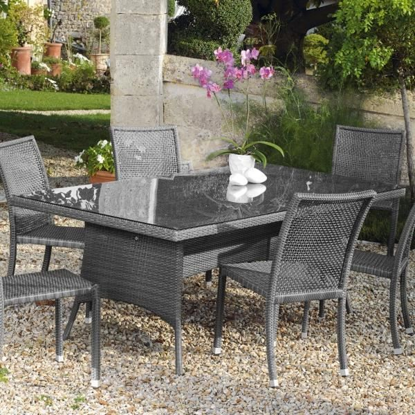 Table ouso en r sine tress e gris ice achat vente table de jardin table ouso en r sine gris for Housse de table de jardin en resine