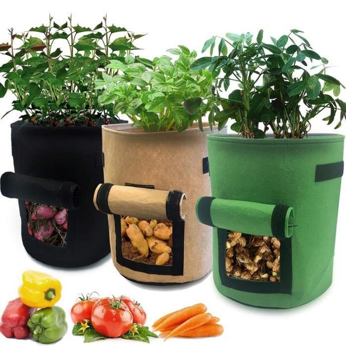 Sac pour Plantes de 7 gallons avec fen/être et poign/ées en Velcro Carottes et tomates iTrunk Pack de 2 Sacs pour Culture de Pommes de Terre Pots en Tissu Non-tiss/é pour Pommes de Terre