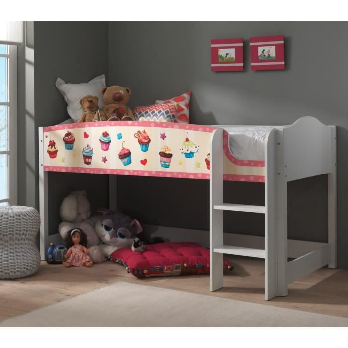 lit enfant mezzanine blanc 90x200 cupcake achat vente lit mezzanine lit enfant mezzanine. Black Bedroom Furniture Sets. Home Design Ideas