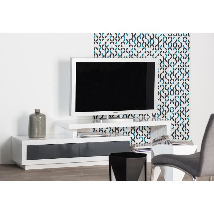 timeo meuble tv contemporain laqu blanc et gris brillant l 170 cm achat vente meuble tv. Black Bedroom Furniture Sets. Home Design Ideas