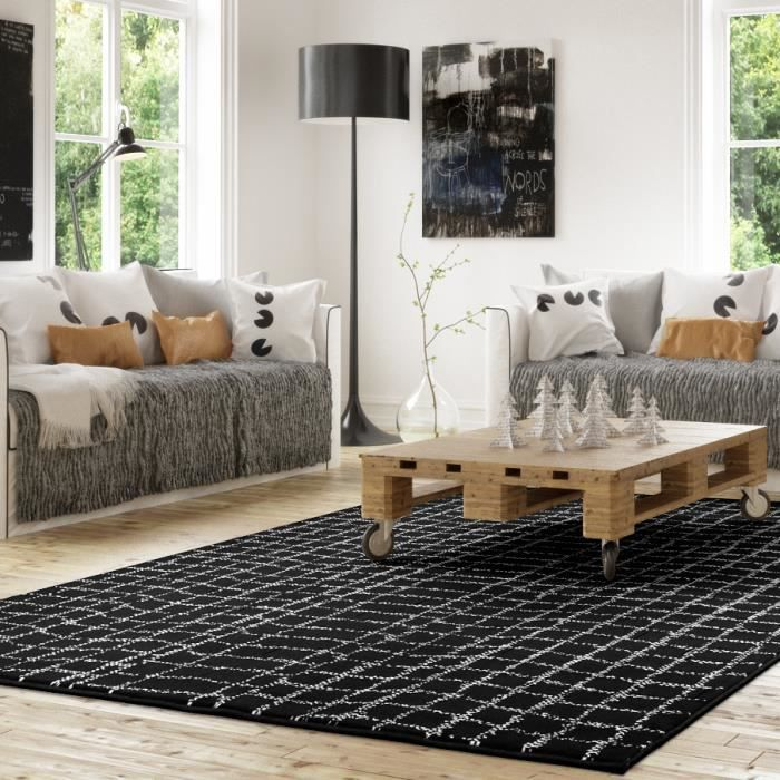 tapis salon toile noir universol achat vente tapis soldes cdiscount. Black Bedroom Furniture Sets. Home Design Ideas