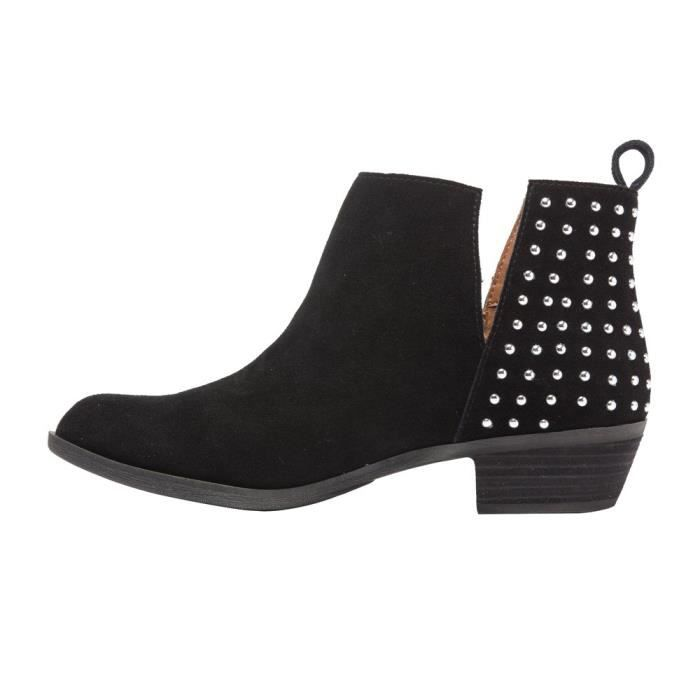 Claire - Studded Ankle Boots - Western Suede Leather Low Stacked Heel Bootie (new Fall) N3Q20 Taille-36 1-2