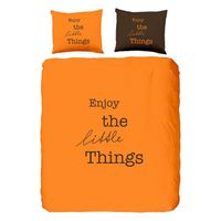 Good Morning King Size en Coton Enjoy The Little Things Housse de Couette, Orange
