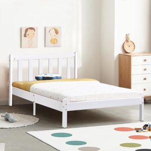 STRUCTURE DE LIT Aingoo lit enfant 90 x190 cm - En bois - Blanc