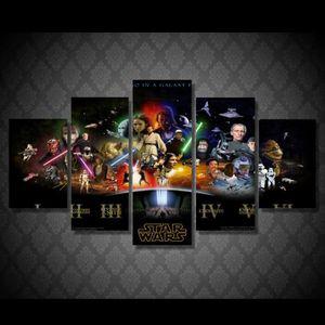 TABLEAU - TOILE 5 Pièce HD Imprimé Star Wars Affiche de Film Peint