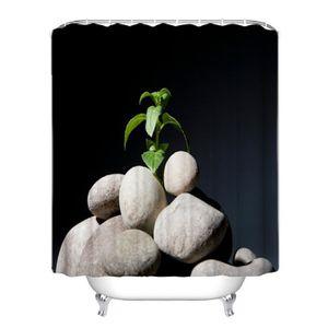 RIDEAU DE DOUCHE Rideau de douche plante et pierres style de zen 3D