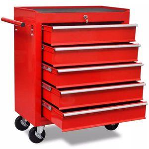 DESSERTE CHANTIER Chariot à outils de l'atelier rouge avec 5 tiroirs