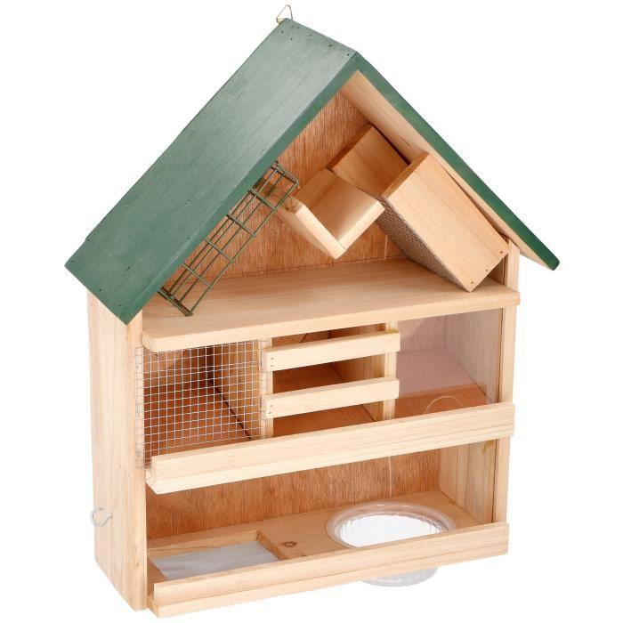 Mangeoire à oiseaux suspendue écrou//table en bois
