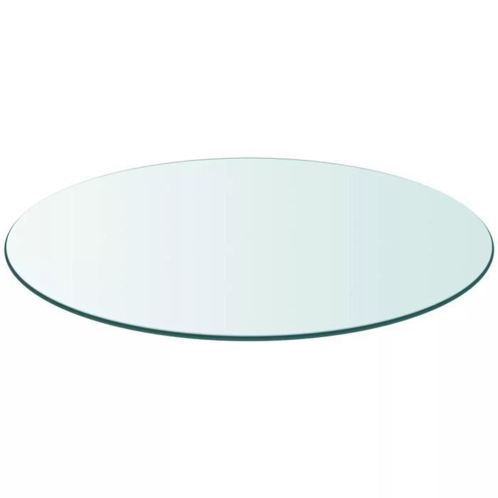 Table en Verre, Dessus de Table Ronde Verre Trempé, 600 mm, Plateau de Table Meuble Transparent