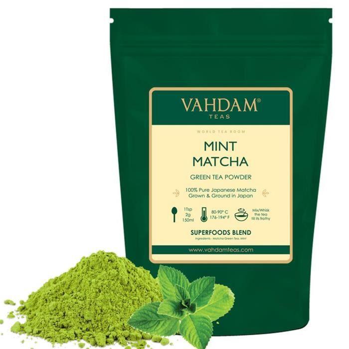 VAHDAM, thé Vert à la menthe et au Matcha