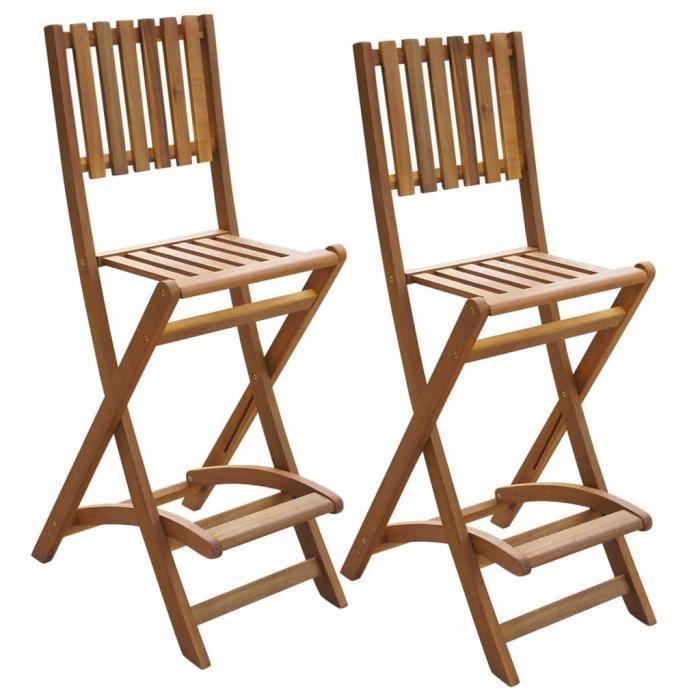 SIB Chaises pliantes de bar d'extérieur 2 pièces Bois d'acacia