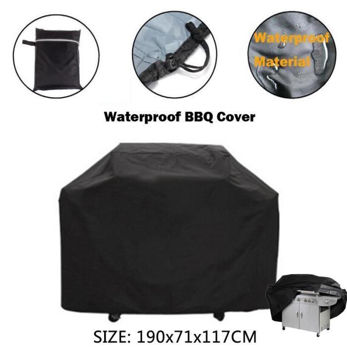 Housse Barbecue BBQ Protection Etanche Cache Poussière Pluie Noir Jardin Patio 190x71x117cm