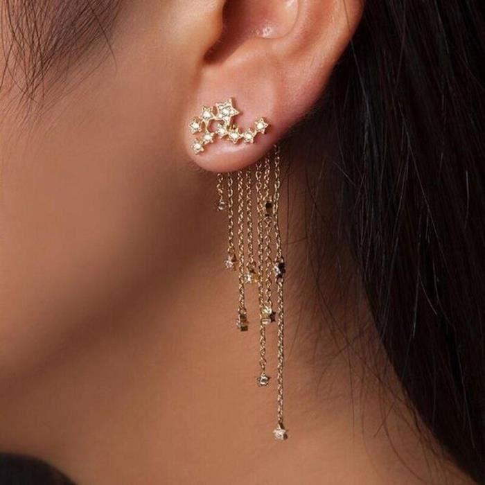 Earring C214-1 -8CM Long gland oreille ligne fil enfileur boucles d'oreilles pour femmes minimaliste or fil barres Rolo chaîne bo
