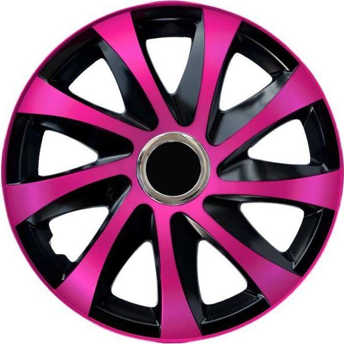 Enjoliveurs de roues Drift EXTRA en rose et noir 15 - lot de 4 piéces