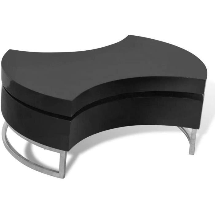 vidaXL Table Basse pivotante en MDF Noire Brillante laquée[407]