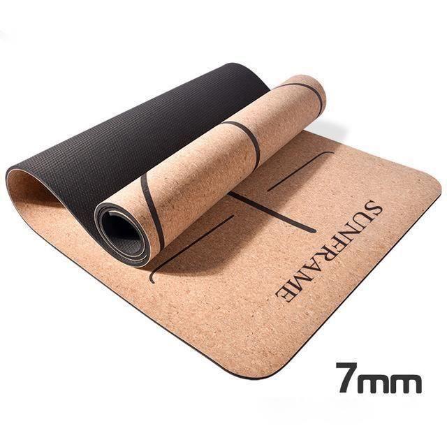 Tapis de Yoga Dessus en Bois de Liège Naturel 100% Tapis d'exercice Ecologique Haute Densité pour Pilates, Fitness et Entraînement