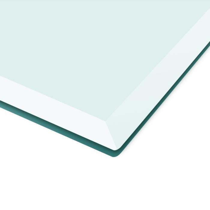 oVsky Dessus de Table Transparent en Verre Trempé Design Carré 700 x 700 mm