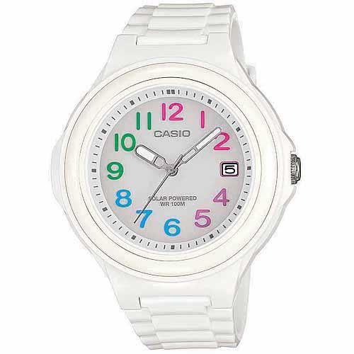 Casio Casio, montre solaire pour femme, chiffres multicolores avec bracelet en résine blanche brillante 1PJ1HL
