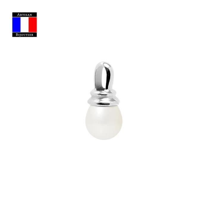 Compagnie Générale des Perles - Pendentif PRESTIGE - Véritable Perle de Culture Poire 9-10 mm - Or Blanc 18 Carats - Bijou femme