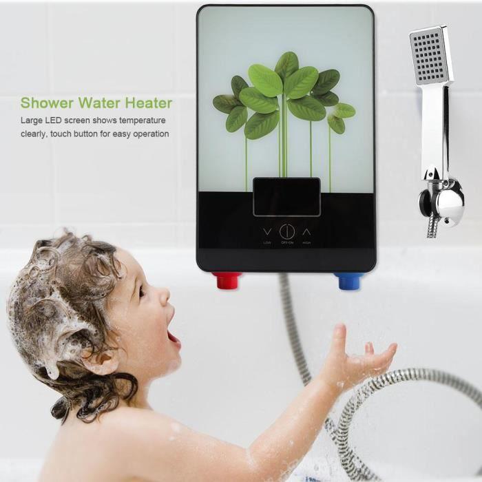 DUOKON 220V 6500W vert laisse style chauffe-eau électrique instantané sans réservoir pour douche de salle de bains -OHL-TIP