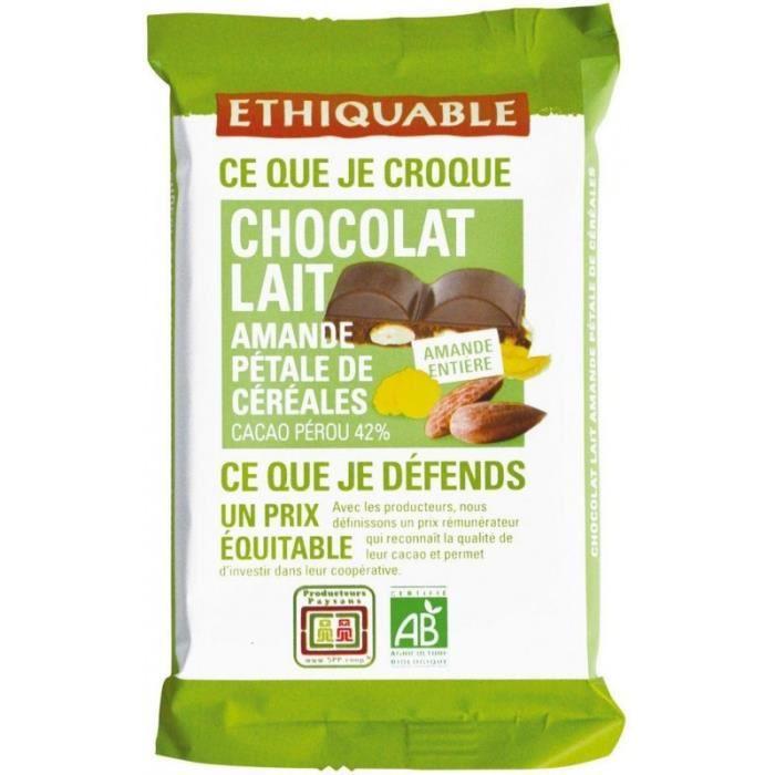 Ethiquable Chocolat Lait Amande Pétale de Céréales 100g (lot de 3)