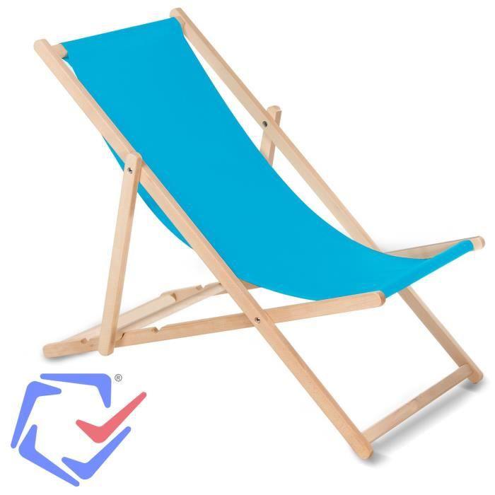 GREENBLUE Fauteuil de plage pliant en hetre bleu classique jardin piscine voyager