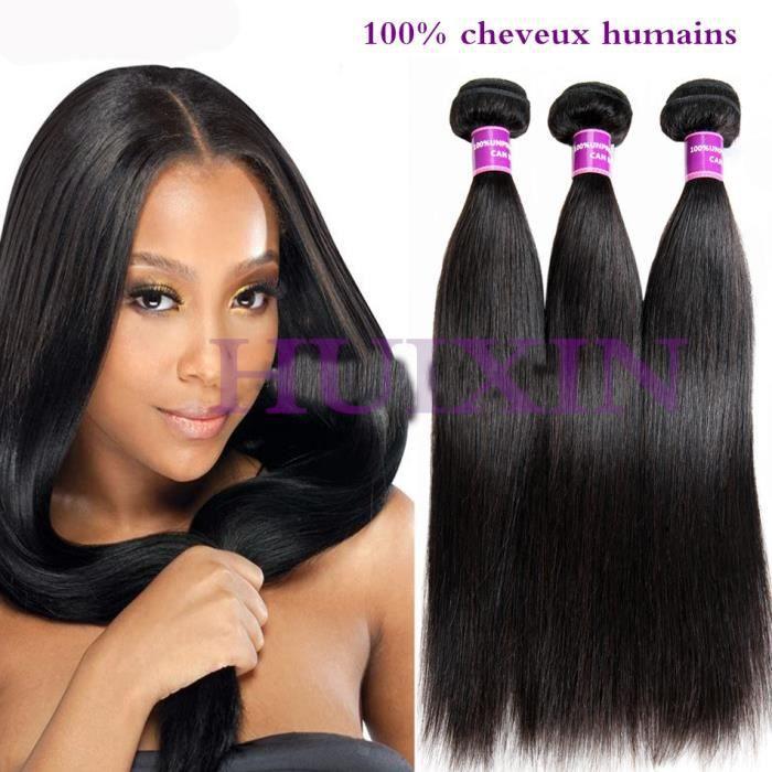 HUIXIN 3 Piece tissage Bresilien naturel lisse cheveux humains 16 18 20Pouces,100g-piece