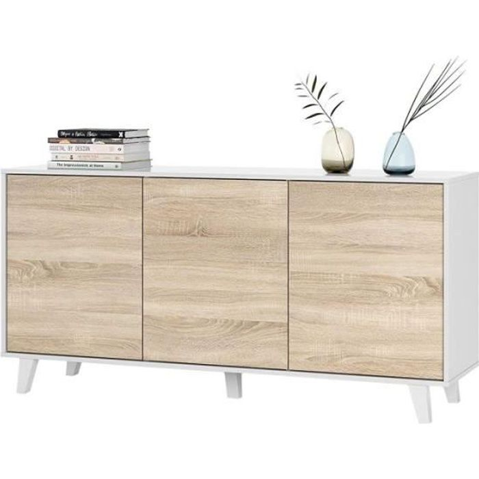 ZAIKI - Buffet/Commode Contemporain Blanc et Decor Chene Style scandinave