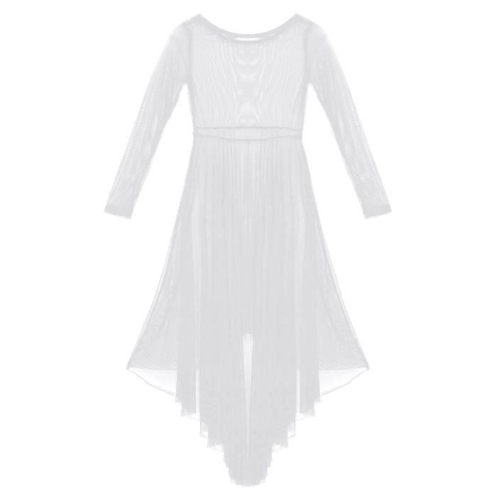 6-14 Ans Fille Robe Danse Latine Manches Longues Enfant Robe Danse Classique Dancewear Blanc