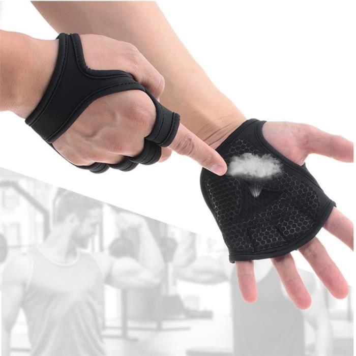 Gants de musculation ventilés Fitness Cross Training Antidérapant Palm Sleeve Idéal pour Ups (Black-M)