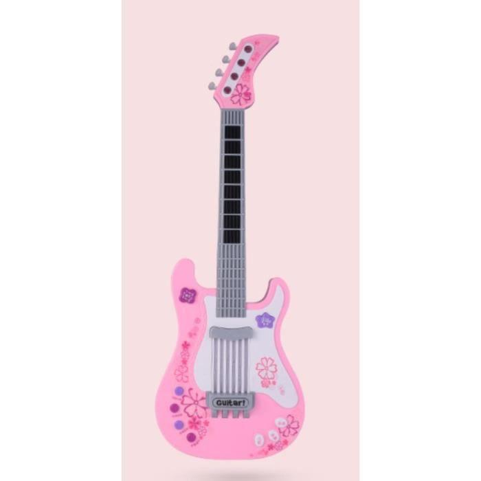 Instrument de musique électronique Guitar Toy (sans piles) rose vintage - Multifonctionnelle Guitare électrique Bass