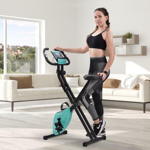 Vélo d'exercice pliable magnétique avec siège rembourré et console LCD stationnaire pour le studio de fitness cardio, Tiffany bleu
