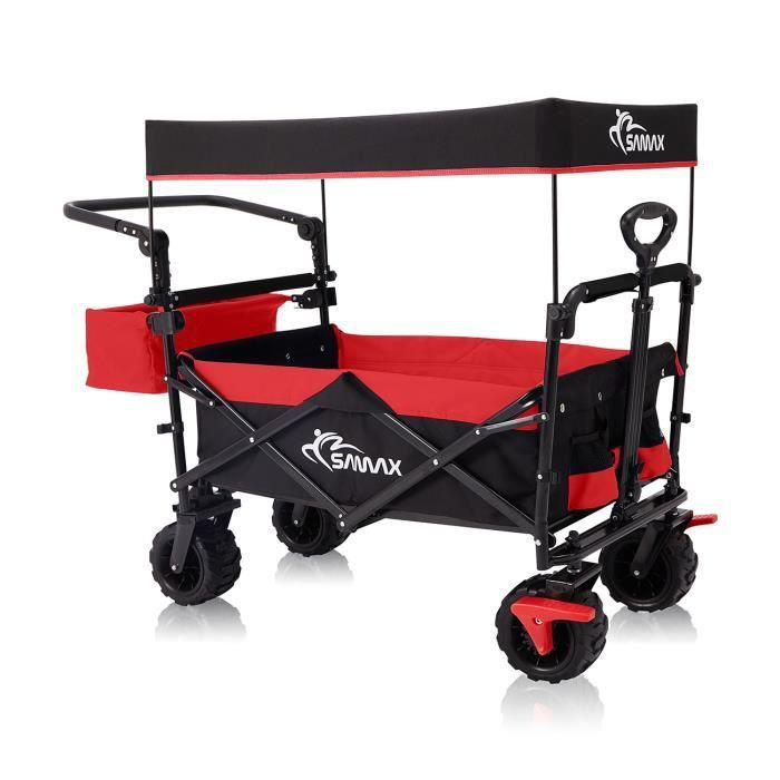 SAMAX Chariot de Jardin Pliable avec Toit Amovible Chariot de Transport à Main - Frein et Sac arrière - Pliante Offroad Noir-Rouge