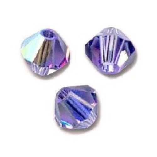 50 Perles Toupies Swarovski® 4mm TANZANITE AB Xilion