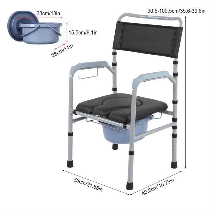 Alliage d'aluminium Adulte Pliant Toilette Commode Chaise de Toilette Chevet-DIN