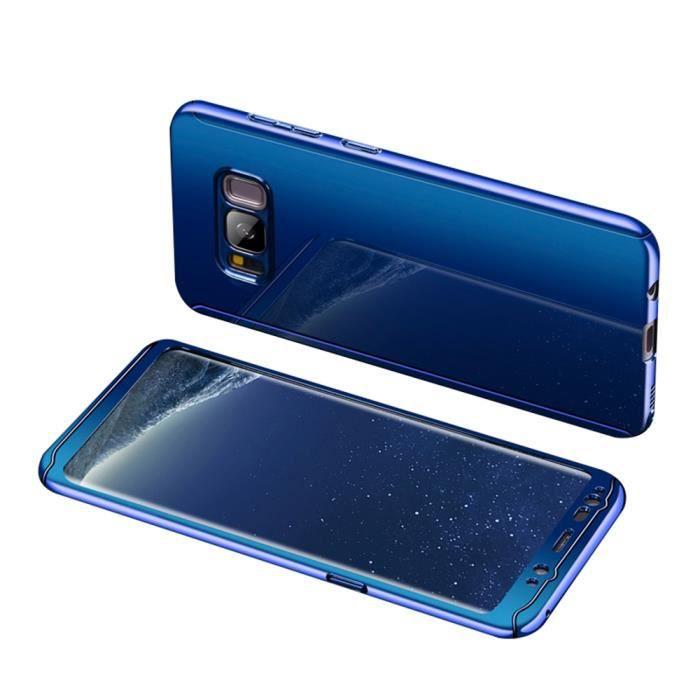 revêtement miroir PC Hard case+Film protecteur d'écran de verre trempé Cover Coque pour Samsung Galaxy S8 -Bleu