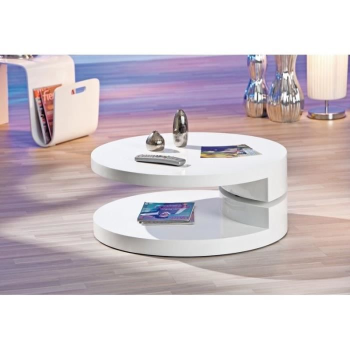 table basse ronde laqu e blanche extensible ruben. Black Bedroom Furniture Sets. Home Design Ideas
