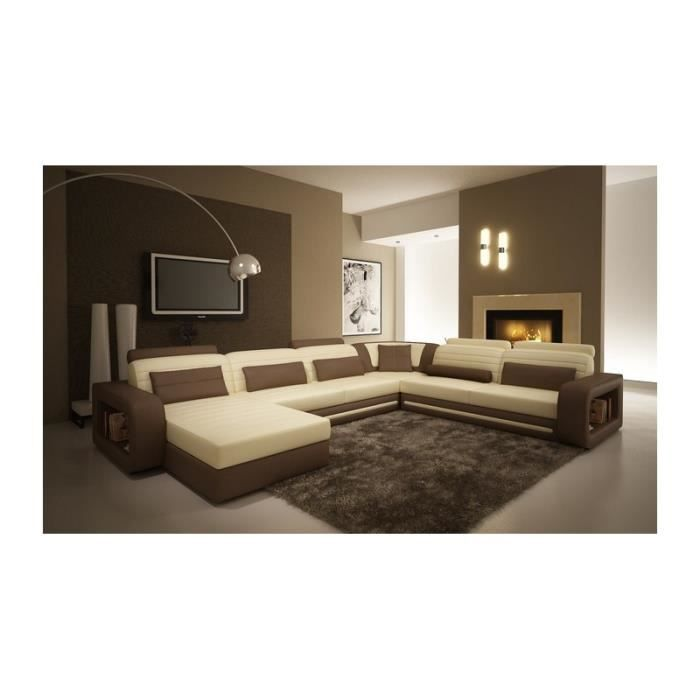 canap d 39 angle cuir new york beige et marron angl achat vente canap sofa divan cdiscount. Black Bedroom Furniture Sets. Home Design Ideas