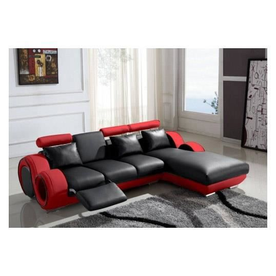 canap d 39 angle cuir relax rouge et noir vilnus achat vente canap sofa divan cuir bois. Black Bedroom Furniture Sets. Home Design Ideas